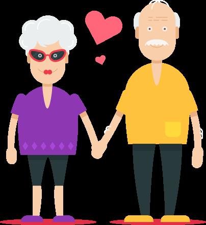 Älteres Paar mit Händchen halten